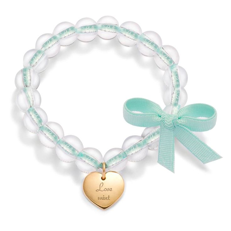 Love mint  Cristal, mint ribbon and a gold-plated heart!  90$ http://lilouparis.com/en-us/ready_made_sets#1108  #lilou #heart #bracelet #platedgold #love #crystal