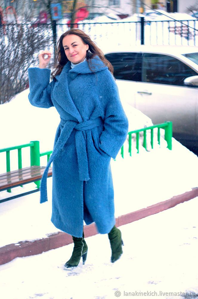 """Купить пальто-халат оверсайз """" Голубой мохер"""" в интернет магазине на Ярмарке Мастеров"""