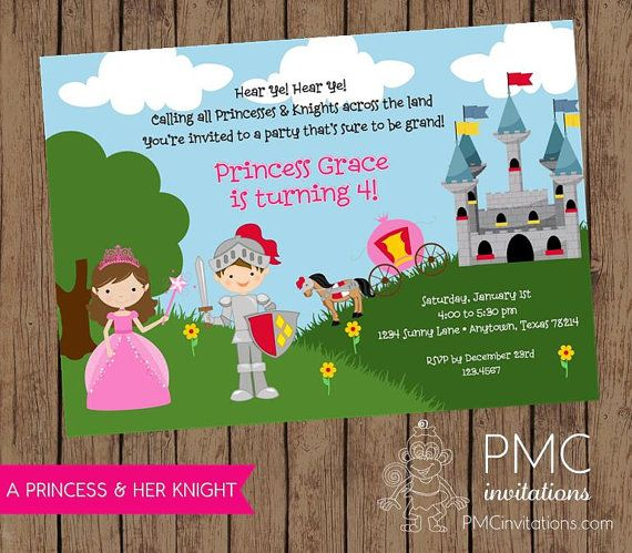 63 best images about ALEX BIRTHDAY IDEAS – Princess and Knight Party Invitations