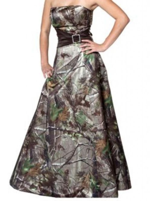#Green Realtree Camo Prom Homecoming Dresses - DELARIZ
