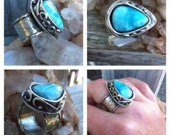 Ларимар и Серебряное кольцо Размер стиле модерн Средневековый Boho Чешский