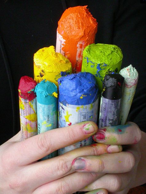 I want  to use Pigment Sticks - Handmade oil paints in a stick form. They provide buttery effects without a brush or solvents. They seem super messy, but I'm down.