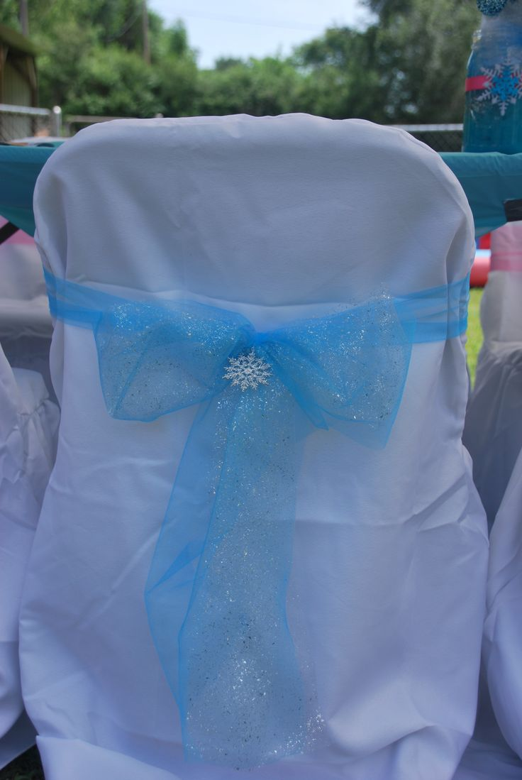 Jazlynns 3rd Frozen Themed Birthday Party Chairs Covered In Linen And Tulle Bows Added With