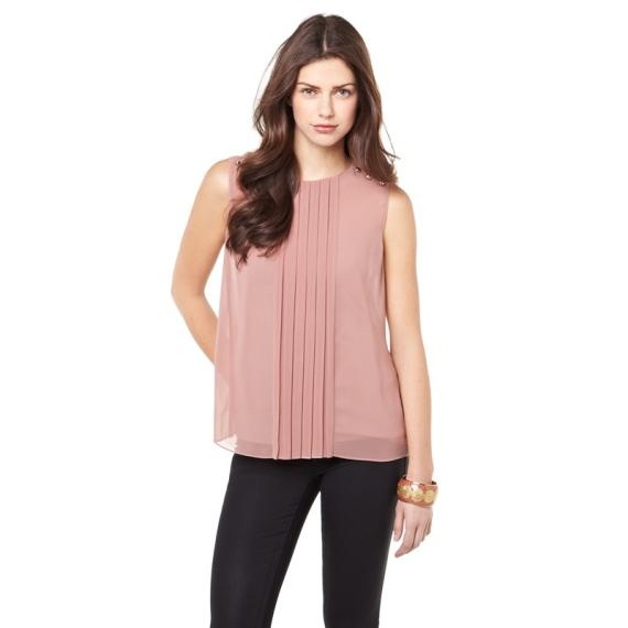 Pure Femininity Spring 2013 Collection      Nathalie fit denim in coated black, Chiffon blouse with pleats and Bracelet