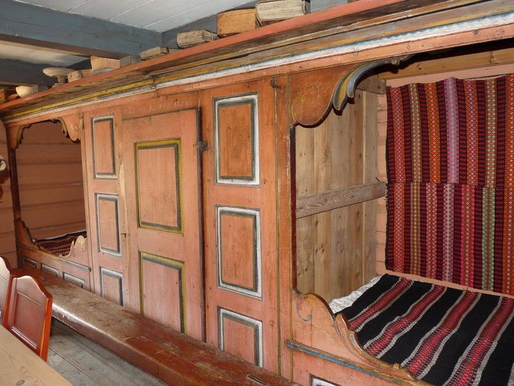Double alcove in the Rural museum Lislestog in Bykle, Setesdal, Norway - From THE ESSENCE OF THE GOOD LIFE™    http://www.pinterest.com/ConceptDesigner/   https://www.facebook.com/pages/The-Essence-of-the-Good-Life/367136923392157