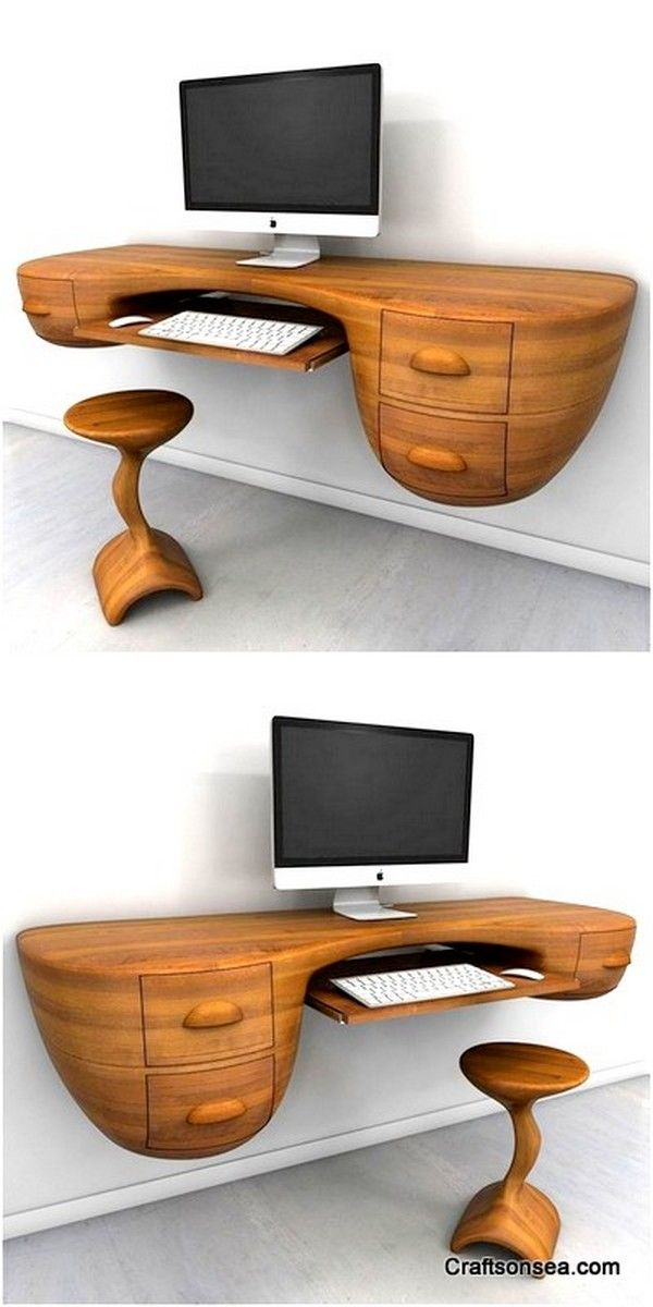 25 Space Saver Floating Computer Table Design And Ideas In 2020 Computer Table Design Computer Table Wooden Computer Table