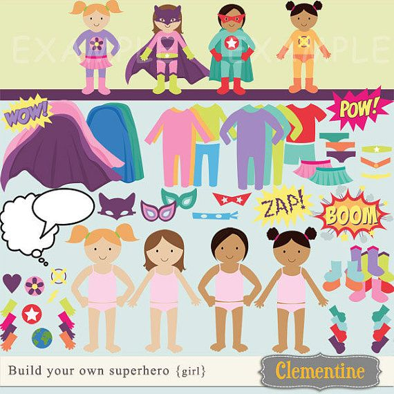 Build your own superhero clip art images, superhero clipart, superhero images (there's a set for boys, too!)