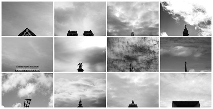 Typology of Paris skies above the iconic tourist attractions. Photography by Leandro Guardado.