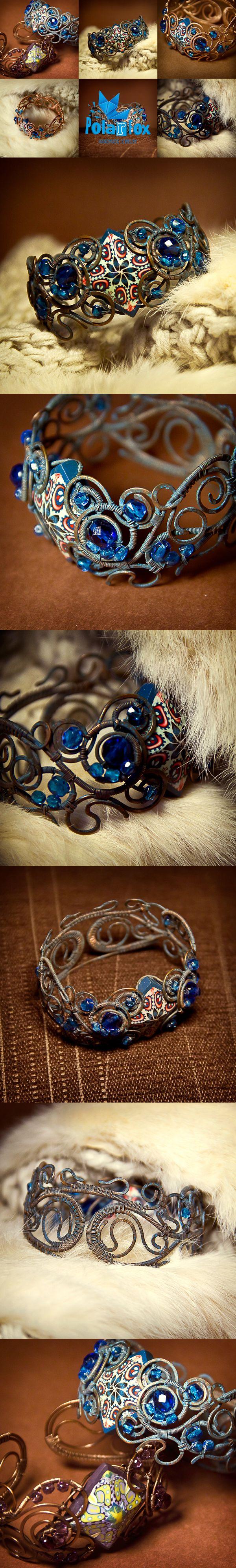 polymerclay, fimo, beads, kaleidoscope, cane,wirewrap, blue, bracelet, handmade, jewelry, hobby, polarfoxcraft