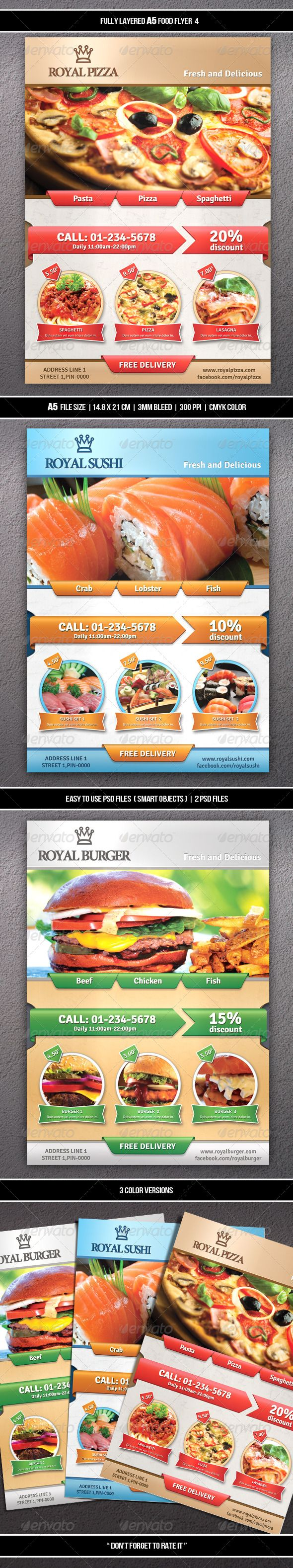 Food Flyer Template #design Download: http://graphicriver.net/item/food-flyer-4-a5/7504924?ref=ksioks