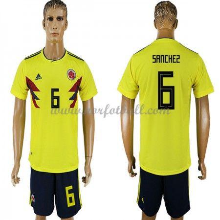 Billige Colombia Drakt VM 2018 Carlos Sanchez 6 Kortermet Hjemme Fotballdrakter