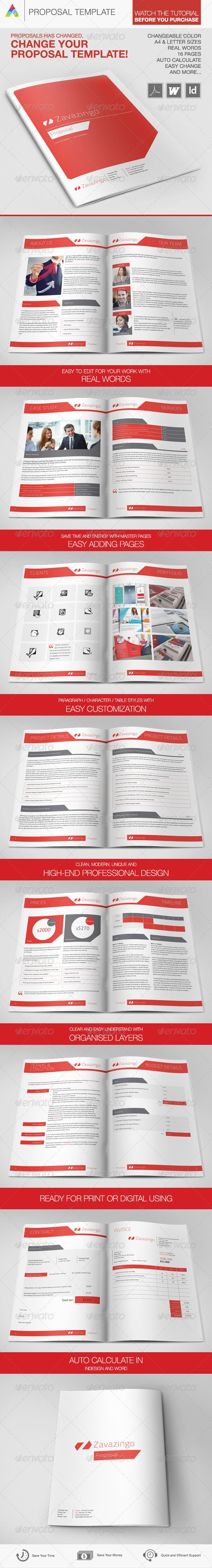 Proposal Template, This is a modern & proposal, high-end professional and very usefull template for a Buisness Proposal Template. It comes in two paper sizes and format including US Letter, A4, Indesign and Word. Completely editable – Print Ready – Easy texts replacements. Auto calculate in Indesign and office word.