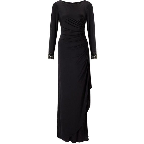 Adrianna Papell Venecian Draped Gown, Black (€210) ❤ liked on Polyvore featuring dresses, gowns, evening dresses, midi evening dresses, long sleeve midi dress, adrianna papell evening dresses and long-sleeve maxi dress