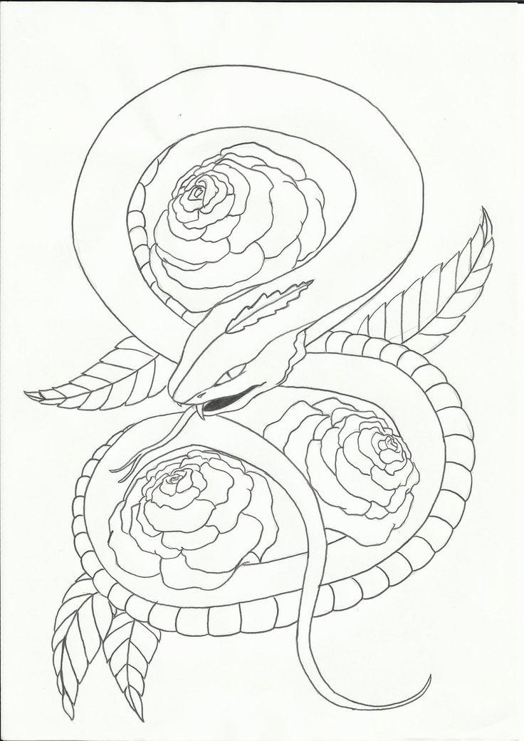 картинки змей карандашом в цветах наши дни