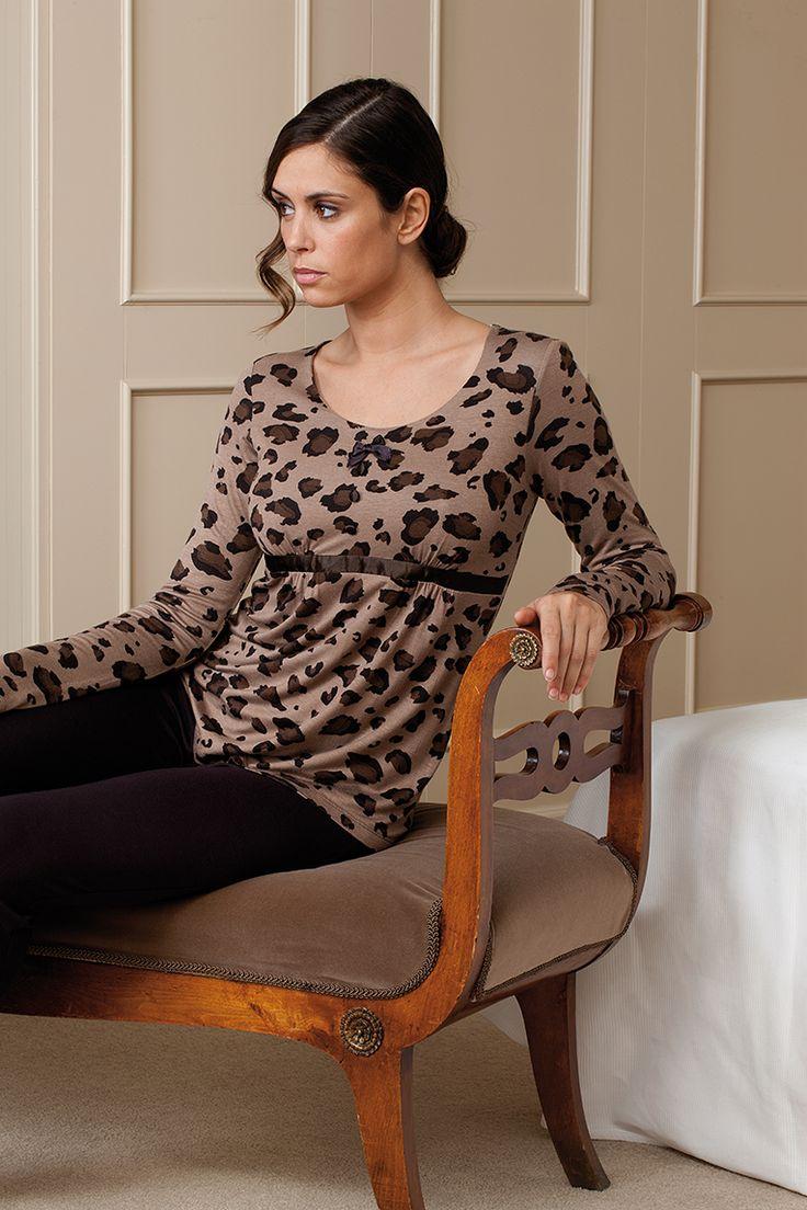 Pijama con estampado animal en tejido viscosa #pijama #animalprint #egatex #sleepwear