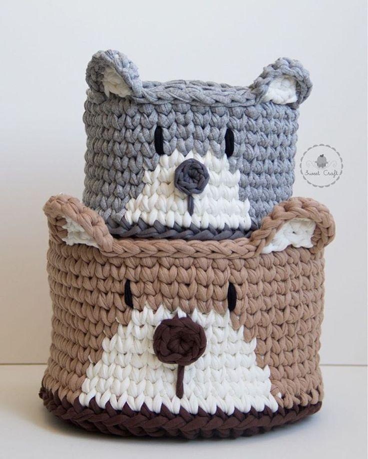 """267 Likes, 4 Comments - Atelier Sweet Craft (@ateliersweetcraft) on Instagram: """"~ursíneos~ Porque o bichinho mais queridinho não podia ficar de fora da coleção de cestinhos!  .…"""""""