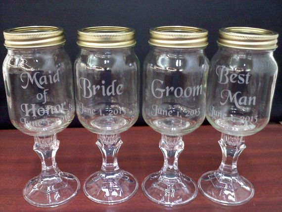 Custom Etched Redneck Wine Gl Wedding Set By Thatgl 35 00 These For Mason Jar