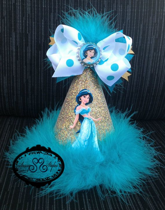 3-in-1 Princess Jasmine Birthday Hat and hairbow! Perfect for your princesses birthday!