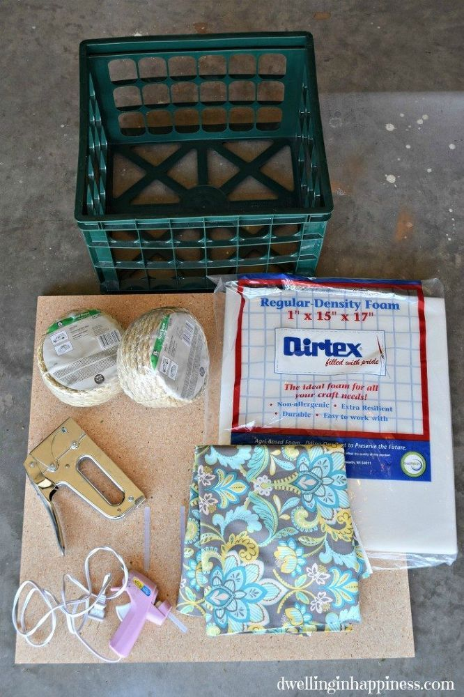 How to turn a green plastic milk crate into a gorgeous storage ottoman