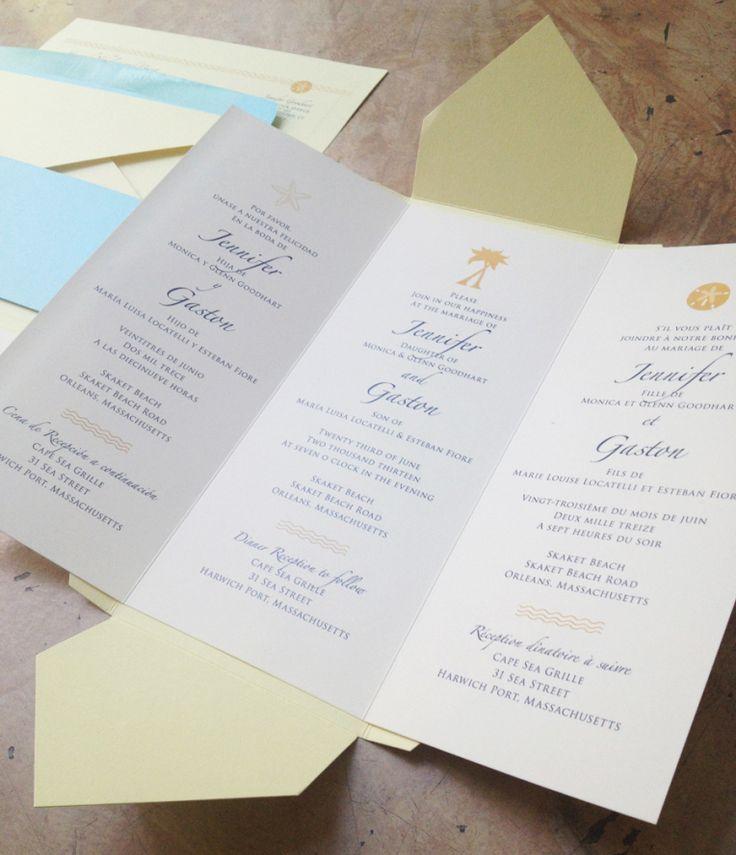 custom wedding invitation] trilingual pochette   Return address ...
