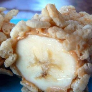 Bananas rolled in PB and rice krispies