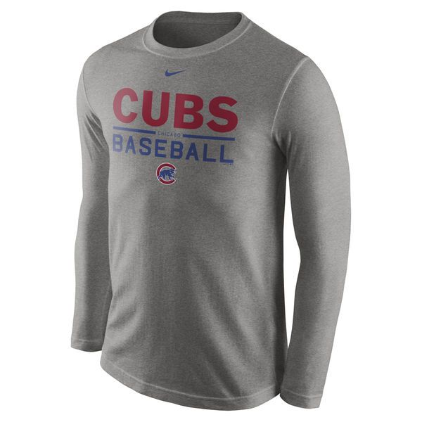 Men's Chicago Cubs Nike Heathered Gray Practice Long Sleeve T-Shirt