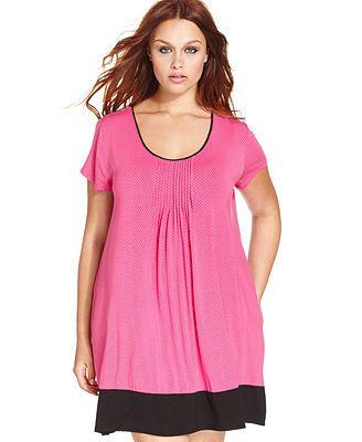 DKNY Plus Size Seven Easy Pieces Short Sleeve Sleepshirt