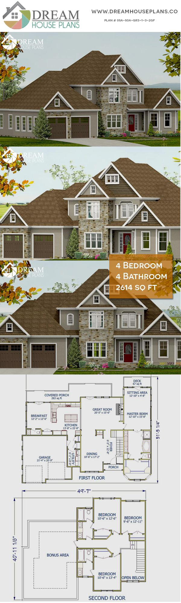 Dream House Plans Popular Southern 4 Bedroom 2614 Sq Ft House Plan With Custom Home Plan Options We Southern House Plans House Plans Small Dream Homes