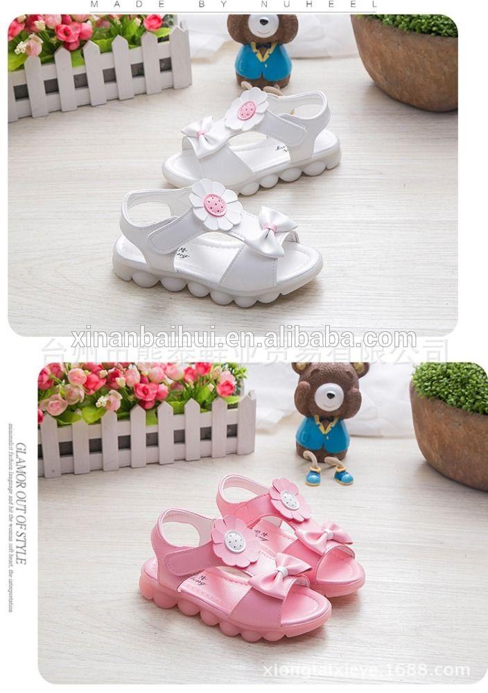 Kızlar parlaklık çiçek sandalet yaz Bebek Çocuk ışık ayakkabı Prenses ayakkabı için 4-7 Y
