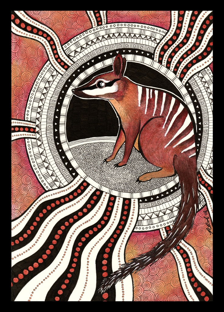 Aboriginal-inspired painting of a Numbat.