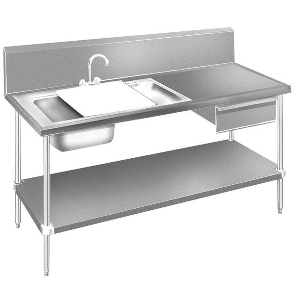 """Advance Tabco DL-30-72 Stainless Steel Prep Table with Sinks, Drawer, Cutting Board and Undershelf - 72"""""""