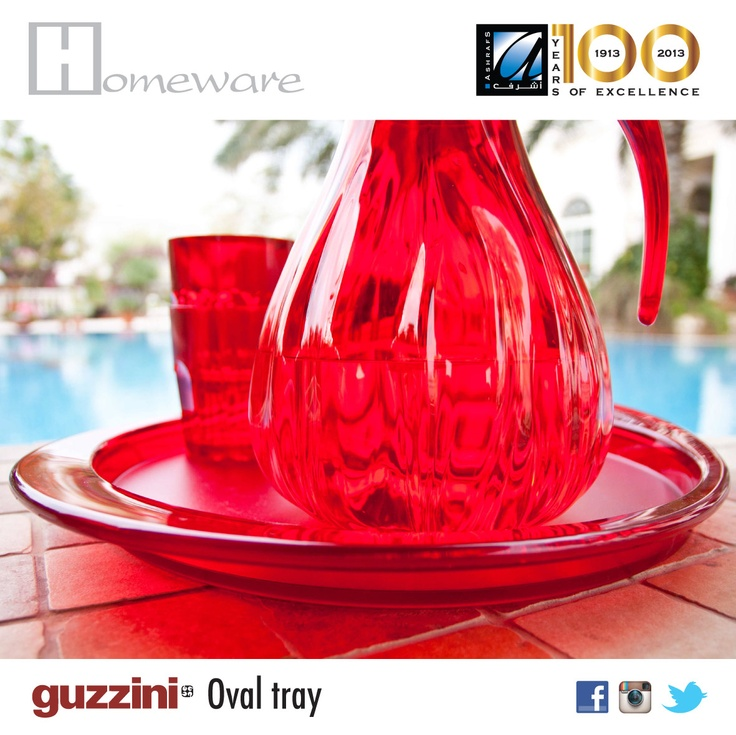 Oval #tray from Italian brand #Guzzini -	Environmentally friendly plastic -	Colours: Orange, Yellow, green, purple and Red -	Price BD 8.200