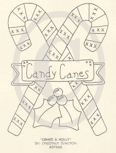 Canes and Holly EPATTERN...embroidery stitchery primitive country christmas digital download craft sewing pattern...PDF...1.99