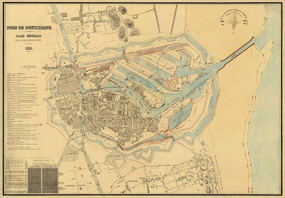 Vieille carte de Dunkerque - Old map of Dunkirk -1881