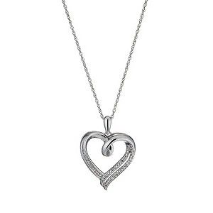 We love this silver rhodium-plated diamond open heart pendant.