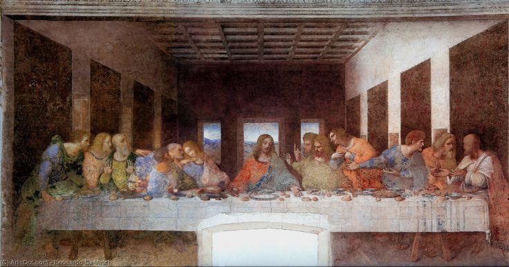 Leonardo Da Vinci-Das letzte Abendmahl mit namen von apostel beschriftet