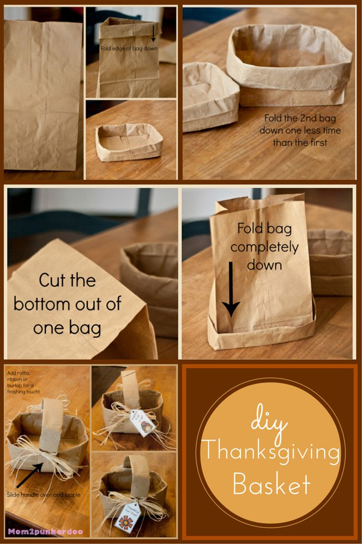 DIY Simple Thanksgiving Basket from paper bags!  #DIY #Thanksgiving #crafts                                                                                                                                                                                 More