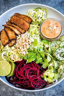 Spiralized Vegetable Noodles with Smoked Tofu and Spicy Peanut Sauce | All Recipes Food