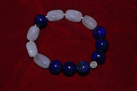 bracelet lapis lazuli, rose quartz, 925 silver bracciale in lapislazzuli, quarzo rosa,  argento 925 Euro 42