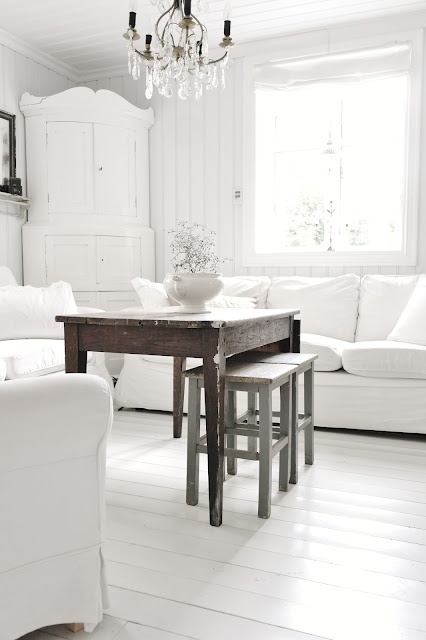 Living Room Whitewashed Chippy Shabby Chic French Country Rustic Swedish decor idea.  *** Repinned from lookslikewhite ***.