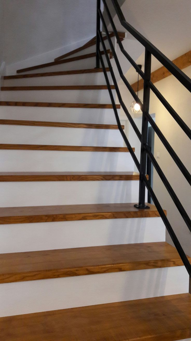 We finally have our stairs 😃😃😃 I am so happy. I have to say that these type of stairs are not common in my country so I am greatful to our catpenter. He did such a good job! #stairs#farmhouse#farmhousestyle#interior#design#schody#slovakia#wood#carpenter#dizajn