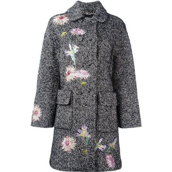 Blumarine embroidered tweed coat (11,720 CNY) ❤ liked on Polyvore featuring outerwear, coats, white, embroidered white coat, tweed wool coat, blumarine, white coat and print coat