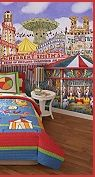 Bright and fun colors are the theme of the day for this quilted ensemble of whimsical circus performers. - circus themed bedroom ideas - circus theme bedroom ideas - circus bedrooms for kids -