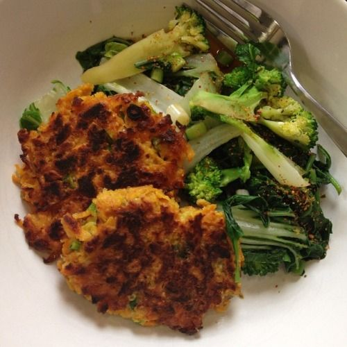 Sweet potato fritters with Lupin Flakes