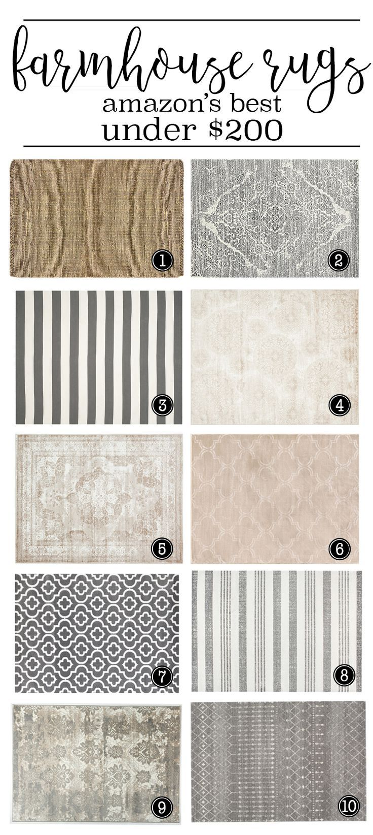 8x10 rugs - all under $200. Beautiful farmhouse style rugs... LOVE! #farmhousestyle #rugs