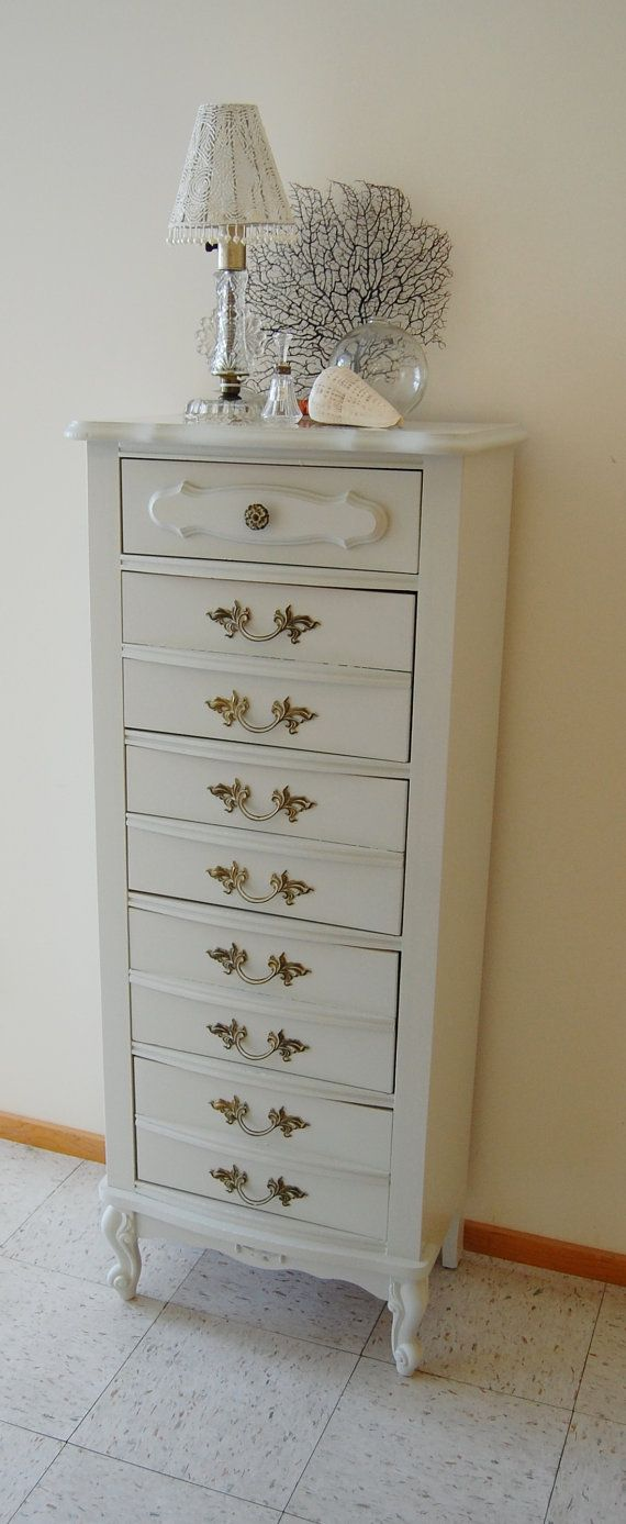 Tall White Vintage Curvy French Provincial Lingerie Chest / Dresser - Bonnet by Sears Brand