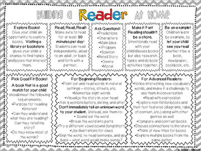 Classroom Freebies: Building Reading Skills at Home - Parent Handout