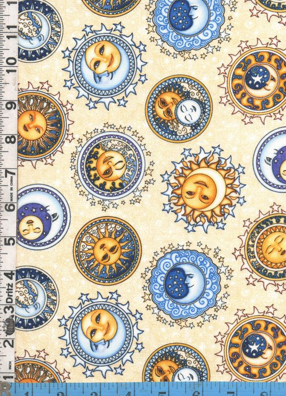 Fabric rjr sew heavenly celestial sun moon stars faces for Celestial pattern fabric