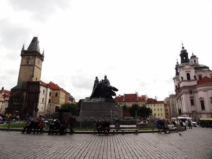 Panaroma of old town square Prague - May 15 2011