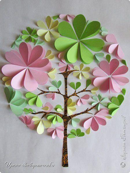 Картина панно рисунок Мастер-класс Аппликация Бумагопластика Панно Весна из сердечек +МК Бумага фото 9
